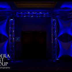Blue stage lighting for an event