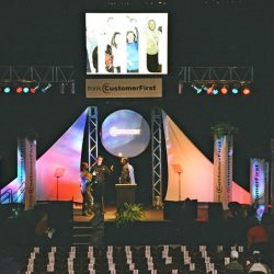 Stage lighting and stage decorations for a Comcast event