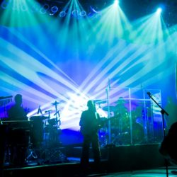 Stage lighting and stage effects for a band
