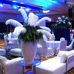 Blue and white custom event decorations