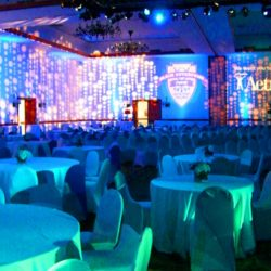 Blue event lighting for the Black Enterprise Pepsi Golf & Tennis Challenge