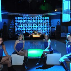 Blue event lighting and custom stage design
