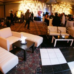 Event seating with custom event lighting