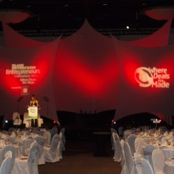 Large corporate event lighting and event planning