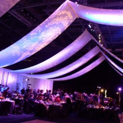Corporate event lighting and decorations