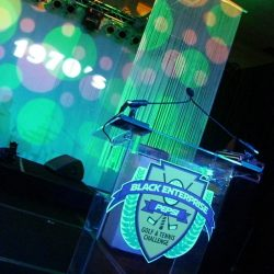 Stage lighting and event decorations for the Black Enterprise Pepsi Golf & Tennis Challenge