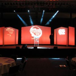 Stage lighting and event decorations for award ceremonies