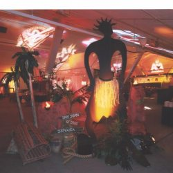 Island themed event decorations and event lighting