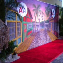 Custom lighting and event decorations for the American Airline red carpet event