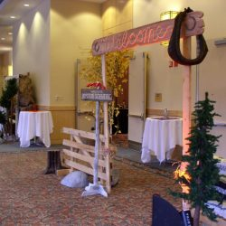 Western themed event decorations for Boston Scientific's holiday event
