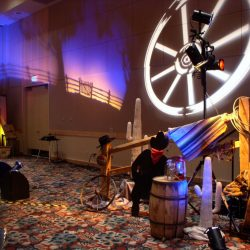 Western themed event decoration and event lighting