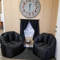 A doggy lounge area at our boarding facility - Canine Oasis