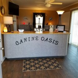 The front desk at Canine Oasis