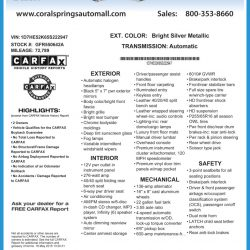 Coral Springs Auto Mall Window Sticker by CarData