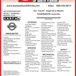 Toyota of South Florida Window Sticker by CarData