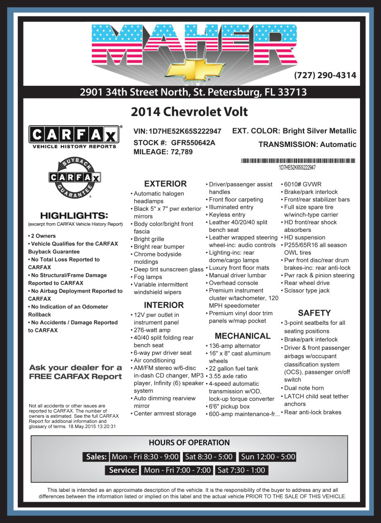 Window Labels & Buyers Guide - Vehicle Marketing For The