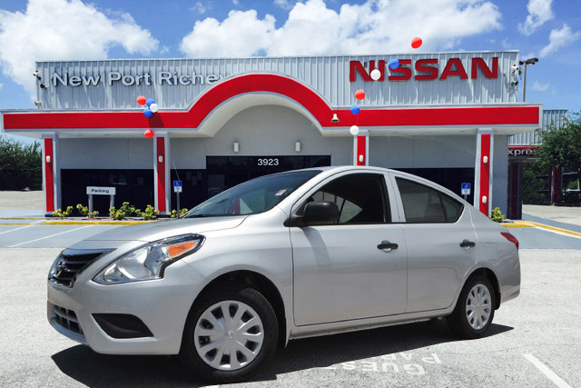 Silver Nissan in front of New Port Richey Nissan by CarData