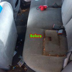 Dirty backseat before interior car detailing