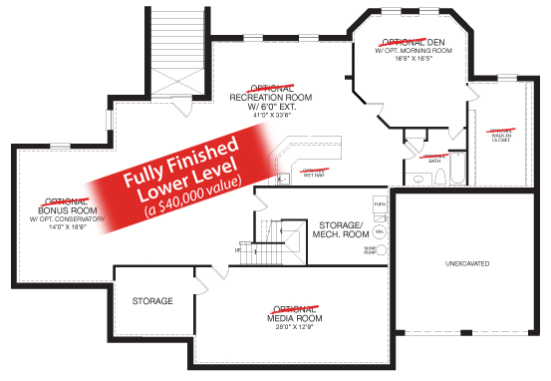 Oakton new home model lower level floorplan