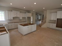 The installed cabinets in a kitchen of a luxury home from CarrHomes in Hamilton.