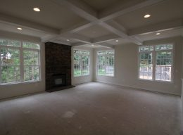 What the interior of a family room designed by CarrHomes looks like during construction in Hamilton.