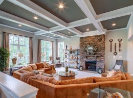 Interior home design of the Oakton living room from CarrHomes in Hamilton.