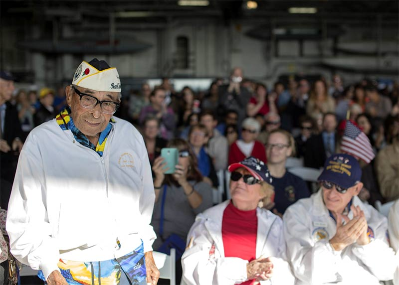 Raymond Chavez at the 73rd anniversary of the attack on Pearl Harbor aboard the USS Midway Museum. Photo credit: 3rd Class Gregory A. Harden II