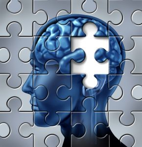 Memory loss and alzheimer's medical symbol represented by a human brain with a missing piece of the puzzle texture.