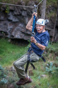 Nels Glesne ziplining on his 100th birthday. Photo courtesy Skyline EcoAdventures, Hawaii