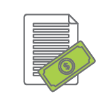 Paper icon with dollar bill