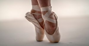 Closeup of ballet shoes