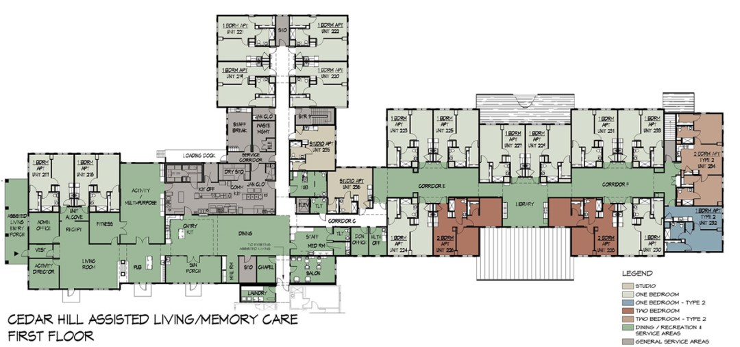 Village at Cedar Hill Assisted Living Area North Wing Floor Plan