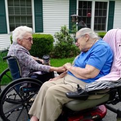 Residents greet each other at retirement community in Windsor