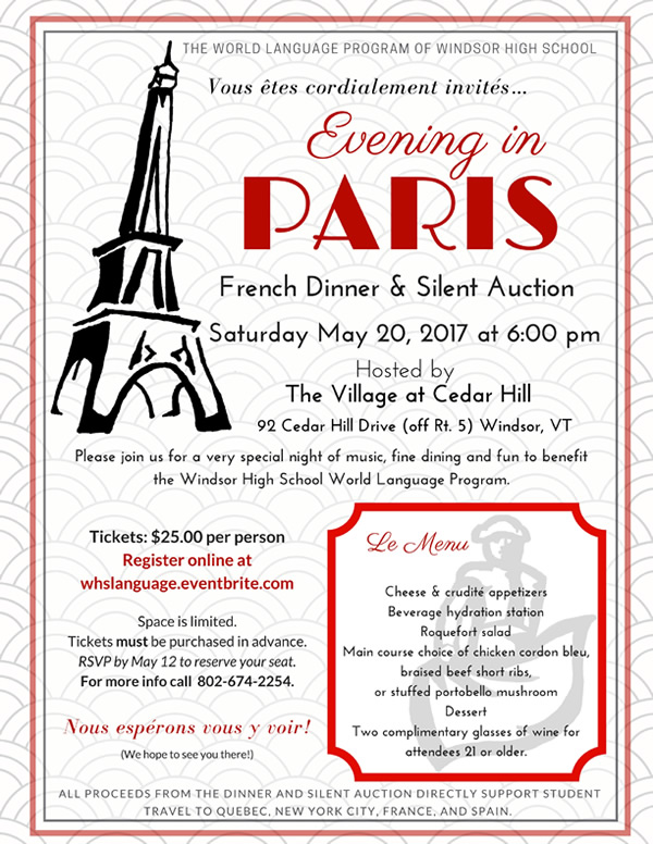 "Evening In Paris"" French Dinner Flyer Pdf Download 