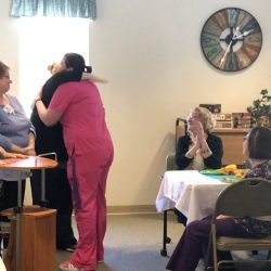 Celebration of staff at memory care assisted living in Vermont
