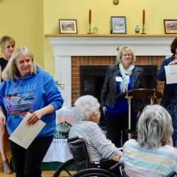 Award recipent sits down at assisted living center in Windsor