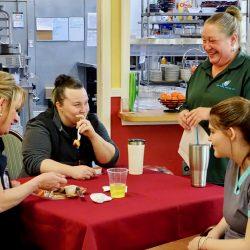 Staff eat together at assisted living center in Windsor