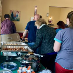 Buffet of food at independent living center in Windsor