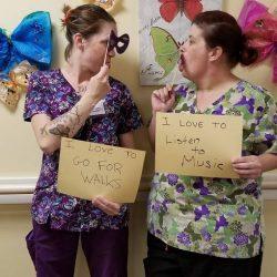 staff members at Vermont dementia care facility having fun