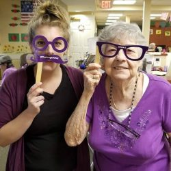 staff and resident of retirement home in Windsor having fun