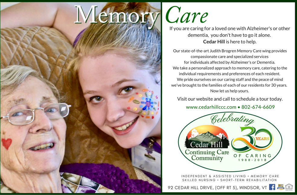 Judith Brogren Memory Care Ad for Burlington Free Press 2018