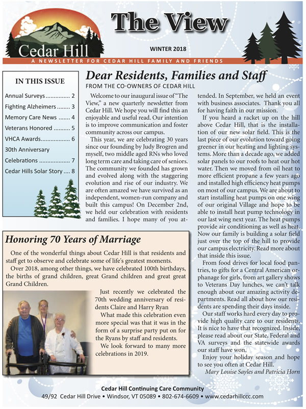 The View Winter 2018 - Cedar Hill Newsletter