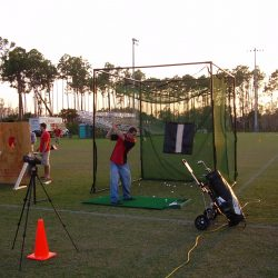 Image of golfer practicing on make-shift range