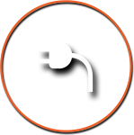 Cord Plug Icon with Orange Circle