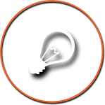 Light Bulb Icon with Orange Circle