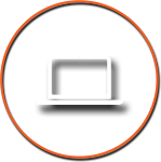 Computer Icon with Orange Circle