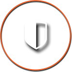 Shield Icon with Orange Circle