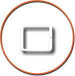 Tablet Icon with Orange Circle