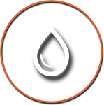 Water Drop Icon with Orange Circle