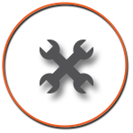 Wrench Icon with orange Circle